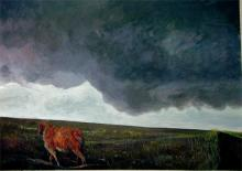 Roan Sheep Beneath Ominous Clouds 2005 Acrylic on paper 16 x 22""
