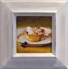 "Pastry with Approaching Beetle, 2011, acrylic on panel, f.s. 11 1/2 x 11"" / i.s. 5 1/2 x 5 1/2"""