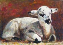 "Pied Lamb Among Poppies 2009 Acrylic on paper 6 1/8 x 8 5/8"" i.s."