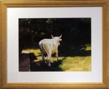 "I Awoke to a Plaster Cow on My Lawn, 2005, acrylic on paper, i.s. 18 1/2 x 24""/f.s. 30 3/4 x 36 3/4"", (Secondary Market)"