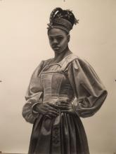 Pride, Prejudice, Priority, 2016, charcoal on paper, 50 x 38""