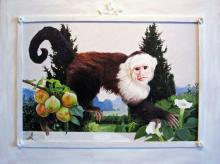 "Primate Above a Garden Gathering Datura, 2012, acrylic on panel, f.s. 30 1/2 x 40 1/2"" / i.s. 21 1/2 x 31 1/2"""