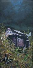 A Purple Cabbage Plumed in the Dark 2008 Acrylic on panel 17 x 8 1/2""
