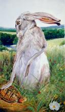 "Br'er Rabbit with Turtle Eyeing White Mexican Poppy, 2006, acrylic on paper, i.s. 15 3/8 x 9""/f.s. 31 x 24 1/2"", (Secondary Market)"