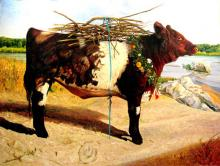 The Red Heifer 2008 Acrylic on panel 39 1/2 x 51 1/2""