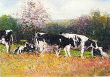 "Cows Near a Redbud Tree 2009 Acrylic on paper 6 1/8 x 5 1/8"" i.s"