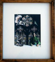 "Saint of Wood Series - Stained Window, 2010, print-copy of collage, hand-colored/acrylic, f.s. 14 1/2 x 13"" / i.s. 7 1/4 x 6 3/8"""