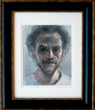 "Self-Portrait 2010 Conte, wax pencil, red ink on paper Frame size: 17 1/2 x 14 1/2""/i.s. 10 x 8"""