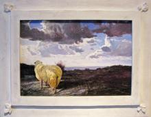 "Sheep Beneath Heavy Sky, 2012, acrylic on panel, f.s. 18 1/2 x 24 1/2""/ i.s. 11 1/2 x 17 1/2"""