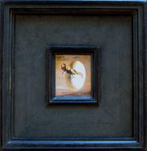 "Stag Beetle Emerging from Egg 2010 Acrylic on panel Frame size: 14 1/2 x 13 3/4""/i.s. 4 1/4 x 3 1/4"""