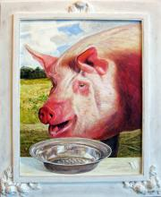 "A Swine Before a Silvered Bowl of River Pearls, 2012, acrylic on panel, f.s. 30 x 24"" / i.s. 23 x 18"""