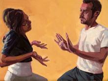 "gestures #1 2009 oil on panel 12 x 16"""