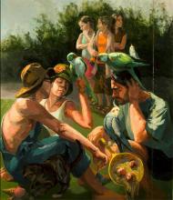 "Parrot's Dilemma 2007 oil on canvas 48 x 41"""