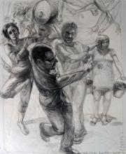 """Aesop's Fable: Trees Under Protection of the Gods, 2011, graphite on paper, 21 x 17 1/2"""""""