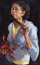 Crawfish Piper 2006 oil on canvas 24 x 15""