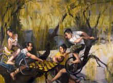 """Camaraderie and Conflict: Chicken 2007 oil on canvas 30 x 36"""""""