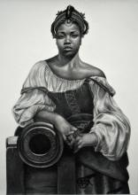 """Warring Woman 2016 charcoal on paper 50 x 38"""""""