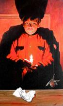 Young Haruspice with Candle 2002 Acrylic on wood panel 47 x 28""