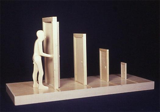 """Man Opening Door, 2002, wood, 9 1/2 x 18 1/2 x 7 1/2"""""""