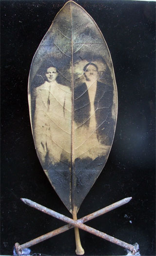 """Steel Brothers, 2011, mixed media, intaglio on magnolia leaf, found objects, 5 x 7"""""""
