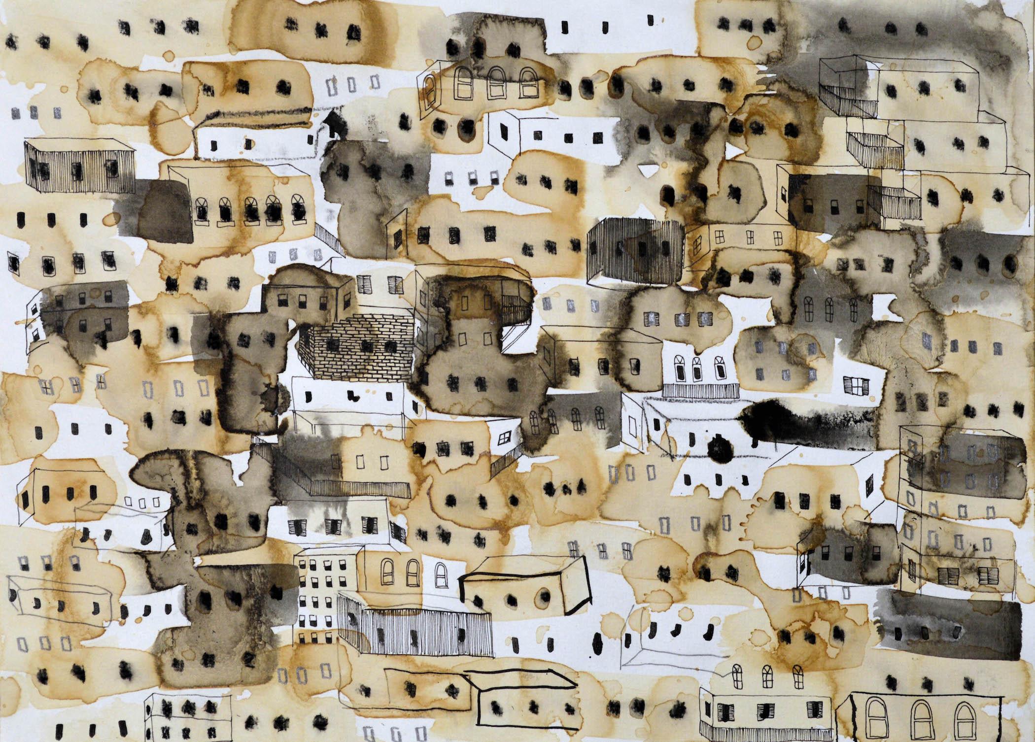 "Big City 6, 2016, ink, coffee, graphite, charcoal, p.s. 11 x 15"" / f.s. 16 1/2 x 20"""