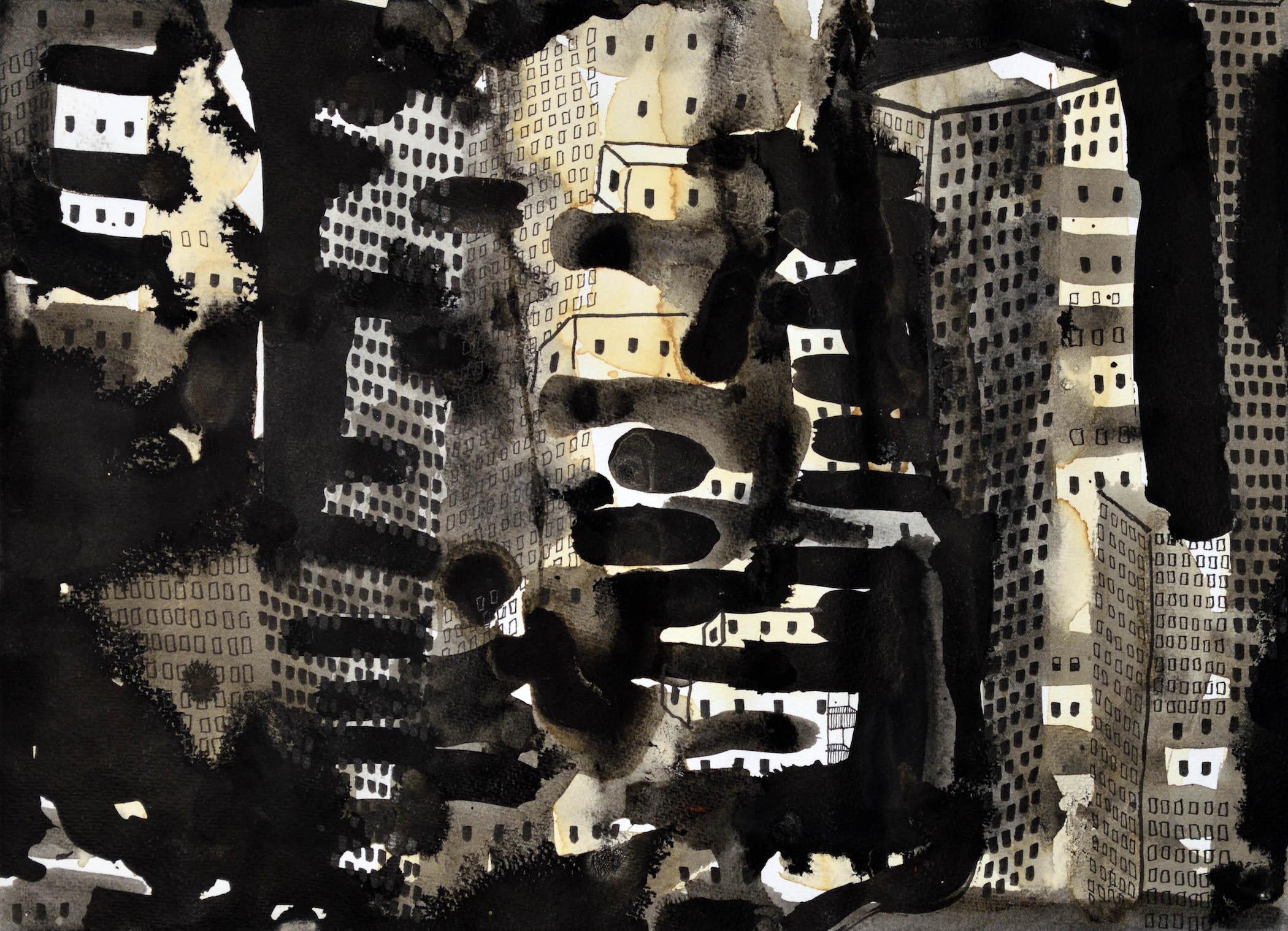 "Big City 7, 2016, ink, coffee, graphite, charcoal, p.s. 11 x 15"" / f.s. 16 1/2 x 20"""