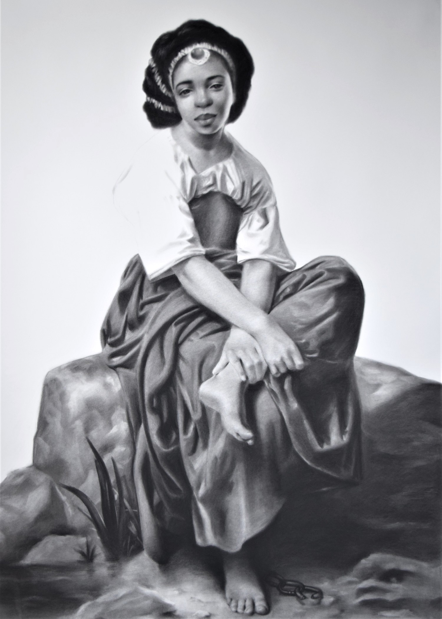 """Unbreakable, 2019, charcoal on paper, s.s. 60 x 45"""" / f.s. 61 x 46"""""""