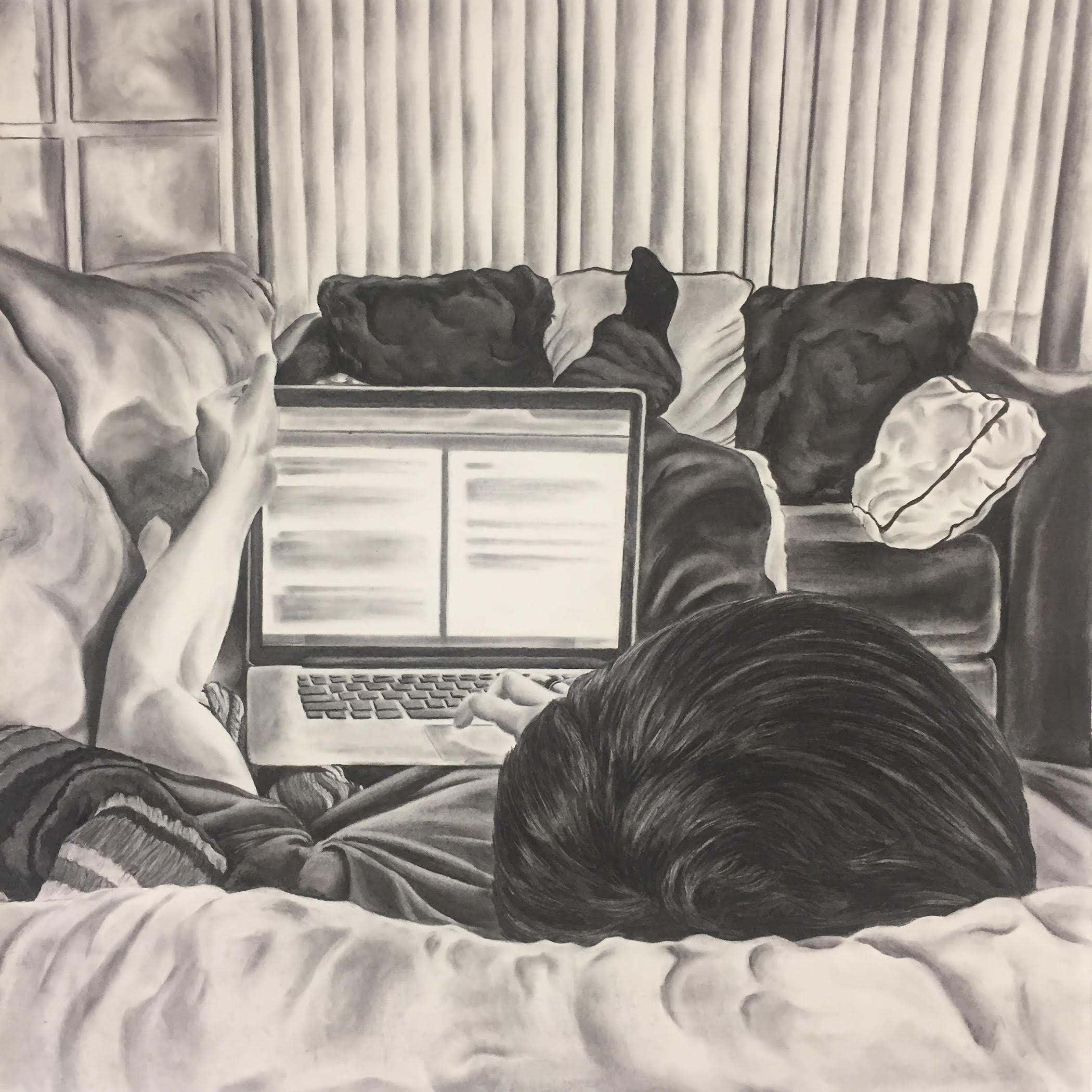 El Chico del Apartamento 202, 2019, charcoal on paper, 36 x 36""