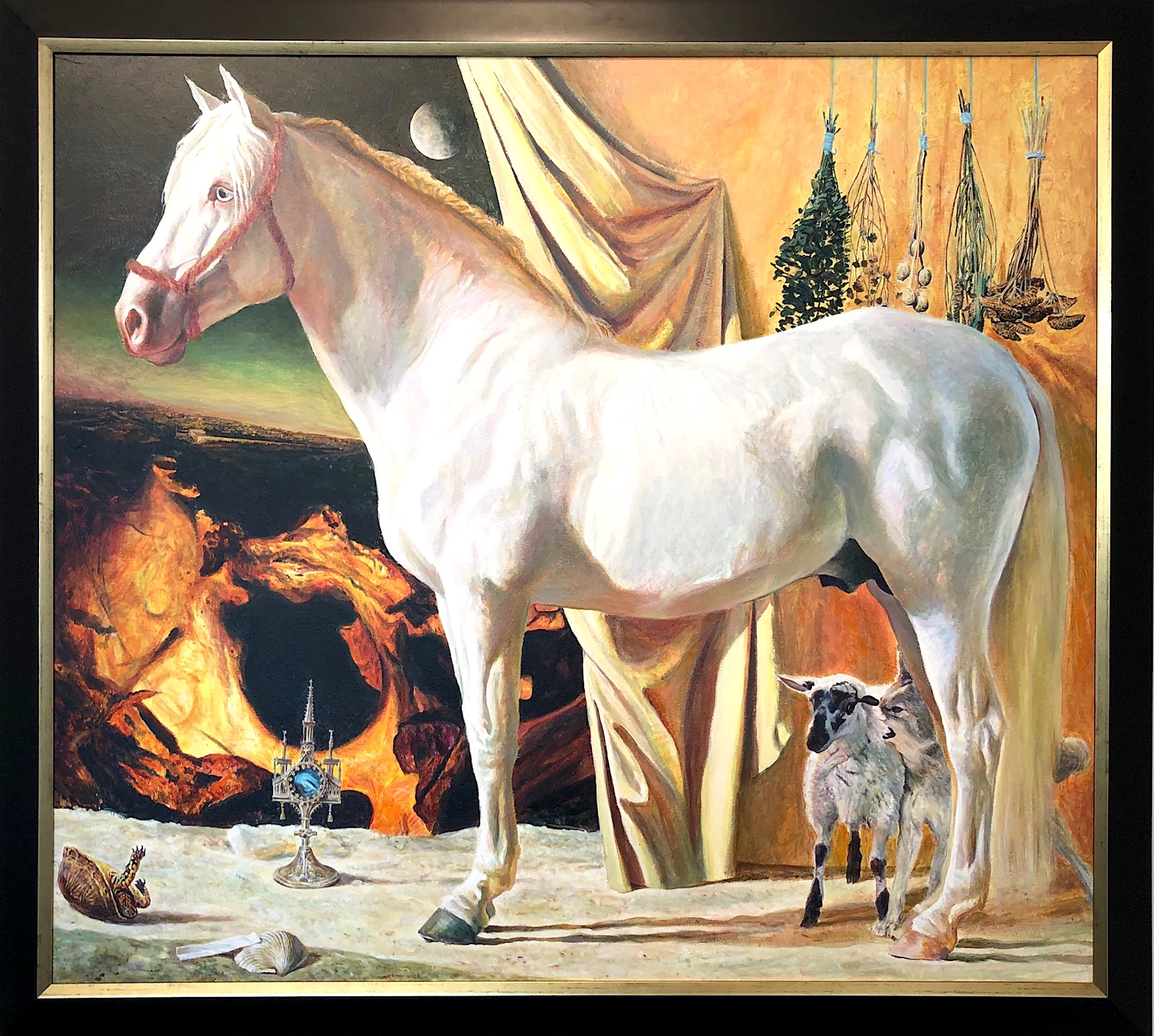 """And I Saw Heaven Open and Behold a White Horse..., 2002, acrylic on wood panel, i.s. 42 x 46 1/2"""" / f.s. 47 x 52"""""""