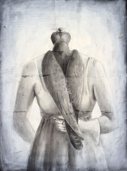 """Hooded Falcon, 2005, charcoal, acrylic, paper, 24 x 18"""""""