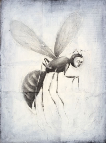 """Wasp-woman, 2005, oil, acrylic, paper on canvas, 24 x 18"""""""