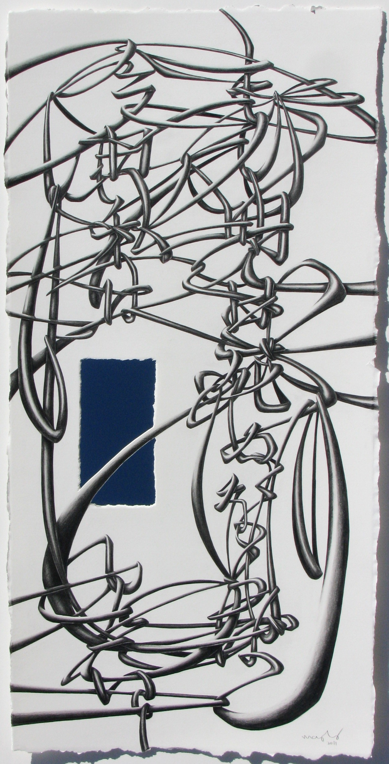 """If I Am Going To Die Tomorrow, Today I Want To ______., 2011, graphite on paper, glass mirror, 21 x 10 1/4"""""""
