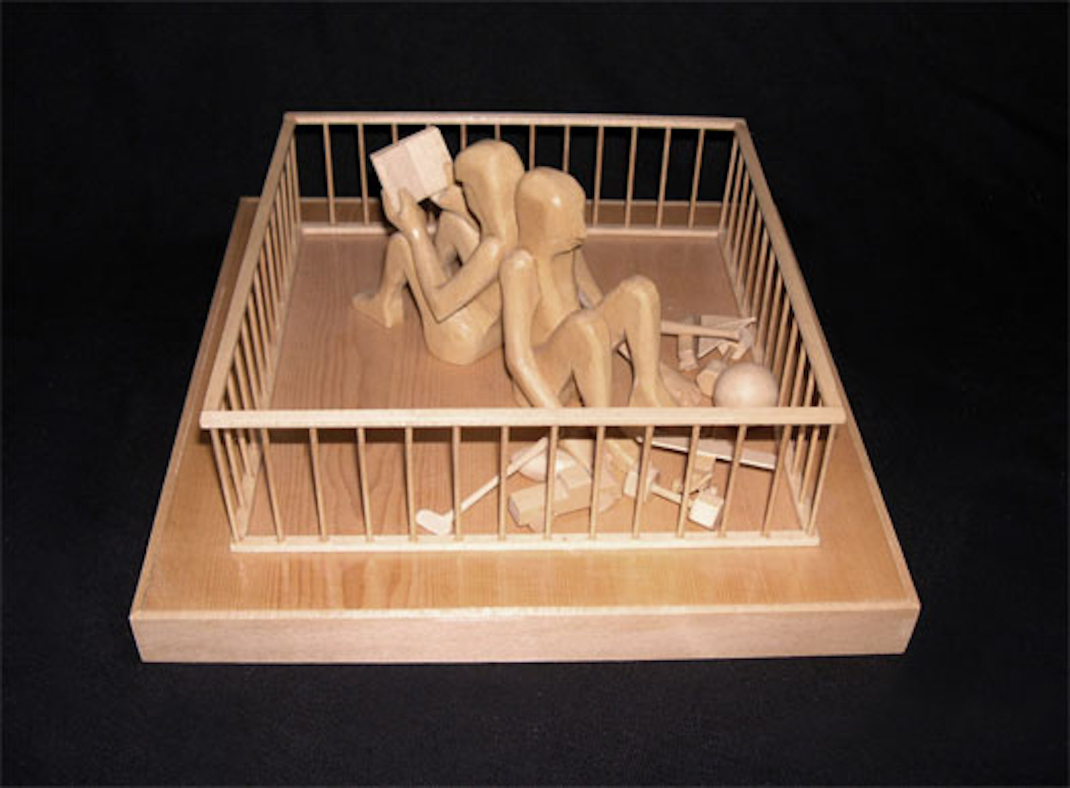 """Man and Woman in Playpen, 2000, pine wood, 4 7/8 x 10 3/8 x 10 3/8"""""""