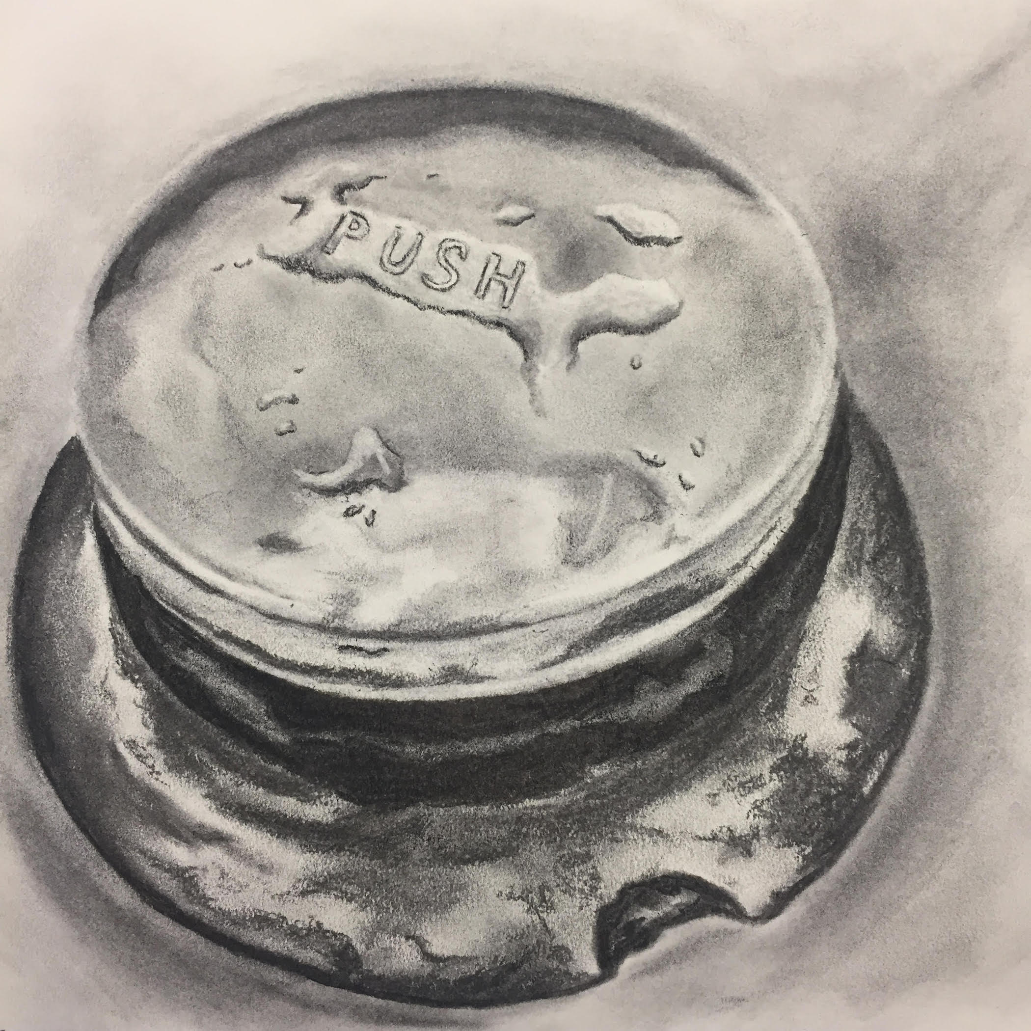 Push the Button, 2019, charcoal on paper, 10 x 10""