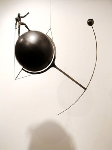 "Archer, 2003, bronze, steel, cable, 30 1/2 x 26 1/4 x 12"", ed. 1/9"