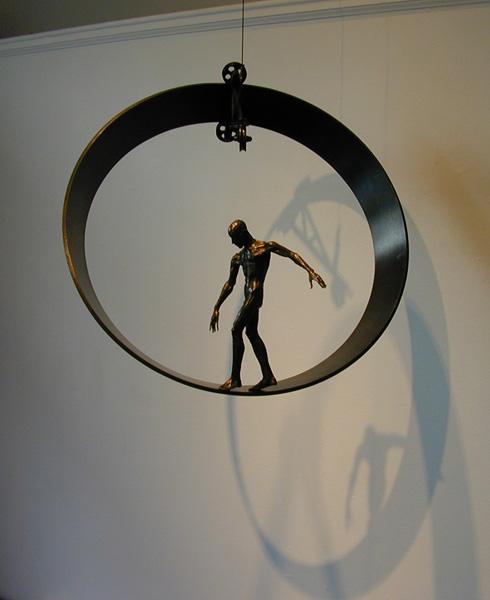"Circumstance, 2001, bronze, steel, 22 x 22 x 16"", ed. 1/9"