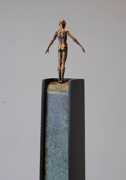 "Descent (Diver Series), 2005, bronze, steel, 52 x 7 x 7"", ed. 1/9"