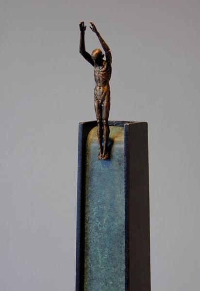 "Kinesis (Diver Series), 2005, bronze, steel, 52 x 7 x 7"", ed. 1/9"