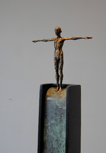 "Poise (Diver Series), 2005, bronze, steel, 52 x 7 x 7"", ed. 1/9"