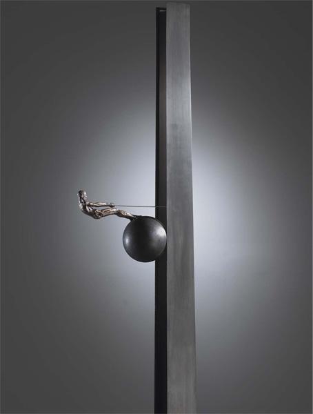 "Reflexion, 2005, bronze, steel, 78 x 17 x 17"", ed. 1/9"
