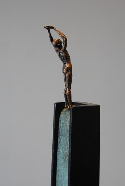 "Stasis (Diver Series), 2005, bronze, steel, 52 x 7 x 7"", ed. 1/9"