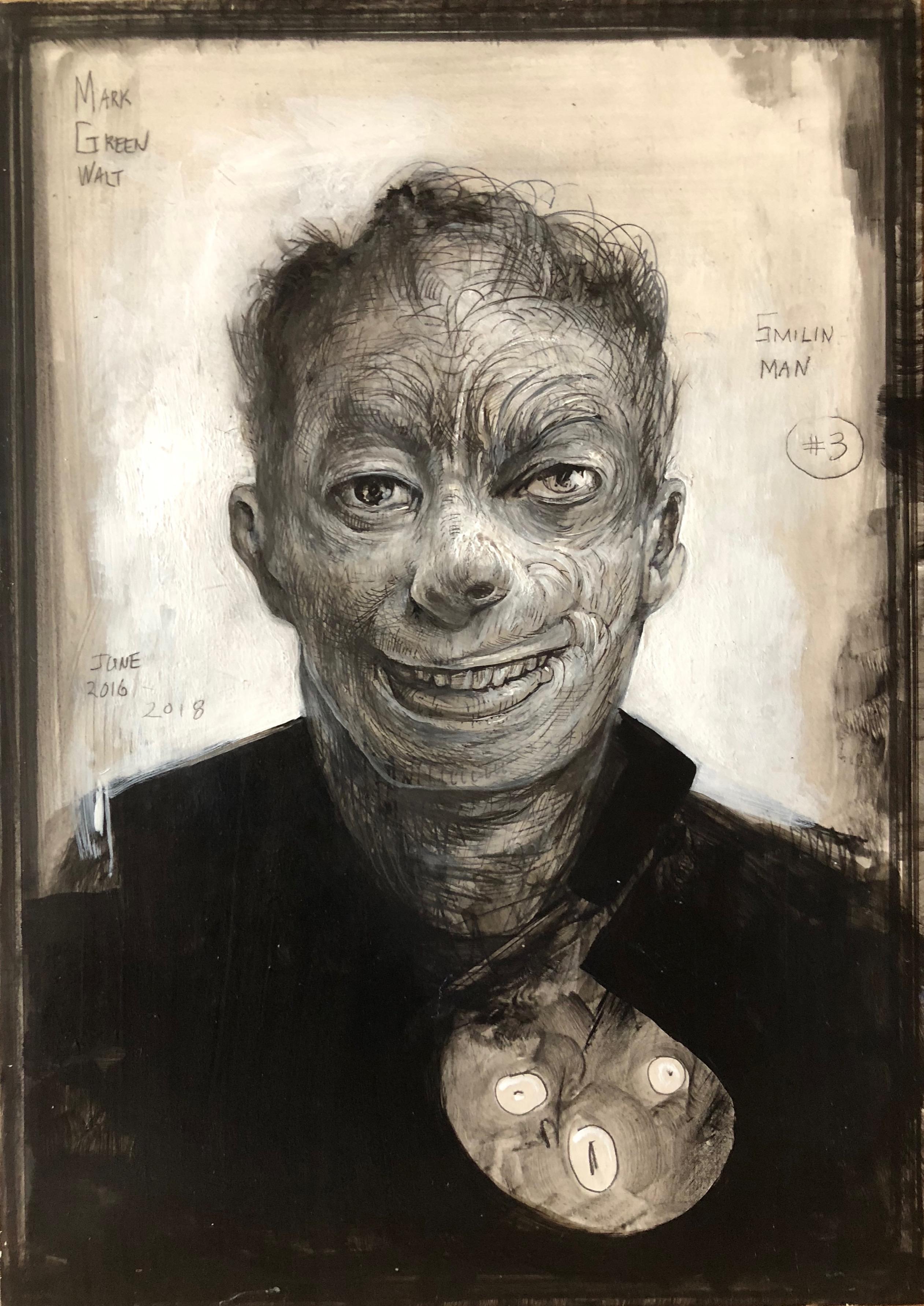 """Smiling Head III, 2018, graphite, acrylic on panel, 7 x 5"""""""