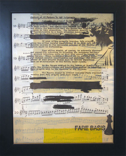 "Fare Basis, 2011, ink, silkscreen, and acrylic on map, 13 x 10 1/2"""