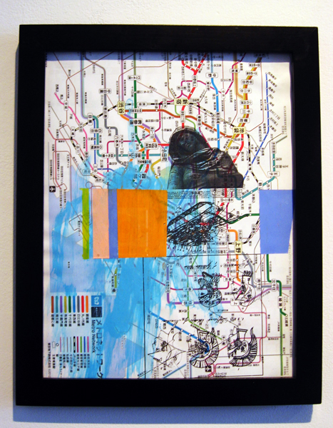 """At least we still poppin in Japan, 2012, acrylic and transfer on map, f.s. 12 1/4 x 9 3/4"""" / i.s. 10 1/2 x 8"""""""