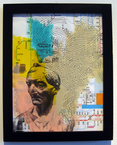 """Everything Records Records Everything, 2012, acrylic and transfer on map, f.s. 12 1/4 x 9 3/4"""" / i.s. 10 1/2 x 8"""""""