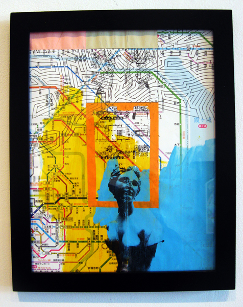 """Nothing on Wilona, 2012, acrylic and transfer on map, f.s. 12 1/4 x 9 3/4"""" / i.s. 10 1/2 x 8"""""""
