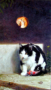 The Dangers Posed by Cats, 2002, acrylic on wood panel, 33 x 19""