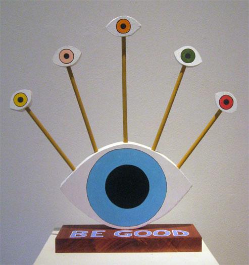 "Be Good, 2010, acrylic on wood 17 x 17 x 4 1/2"""