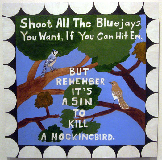 To Kill A Mockingbird, 2009, acrylic on wood, 15 1/2 x 15 1/2""