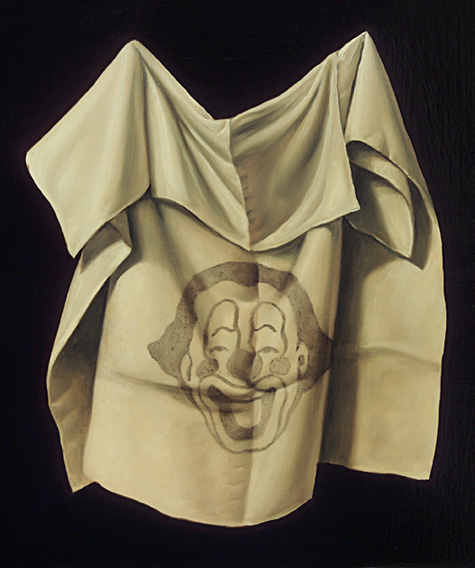 """The Shroud of the Clown of Turin 2004 Oil on wood 8 x 8 1/2"""""""